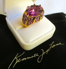 Kenneth Jay Lane Purple Amethyst Crystal w/Multi Colored Crystal Cocktail Ring