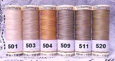 6 Light brown colors GUTERMANN 100% polyester sew-all thread110 yard spools