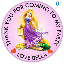 Personalised Disney Princess Rapunzel Round  15 Stickers Party Thank You Seals