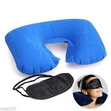 3en1 set de Voyage confort Coussin gonflable bleu + masque + bouchons d'oreille