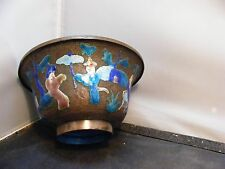 antique  CHINESE ENAMEL BOWL VASE IMPERIAL FIGURES signed