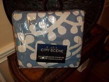 New City Scene Branches Blue White Full/Queen Duvet Cover Set 3pc