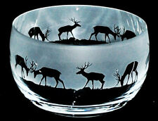 *DEER GIFT* 12cm BOXED CRYSTAL GLASS BOWL with STAGS Frieze
