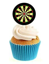 Novelty Dart Board 12 Edible Stand Up wafer paper cake toppers darts birthday