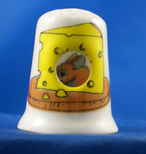 Birchcroft China Thimble -- Peephole -- Mouse in Cheese -- Free Dome Box