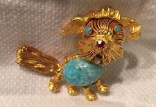 1960's Gold Tone String Dog Pin Turquoise Art Glass Cabochon Belly Rhinestones