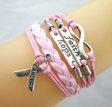 New Infinity/Hope/Faith/Breast Cancer Awareness Sign Leather Braided Bracelet