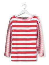Banana Republic - S - NWT $55 - Red & White Striped 100% Cotton Knit Top - Tee