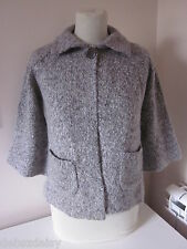 NEW LOOK size 12 grey fleck wool/alpaca fluffy collared swing cardigan BNWT New