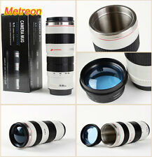 New White Canon Camera Lens Shaped EF 70-200mm Drink Thermos Coffee Cup Mug