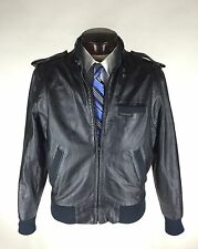 Members Only Leather Jacket Size 40 Black Cafe Racer Racing  Motorcycle Vintage