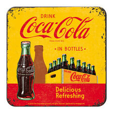 5 er SET METALL UNTERSETZER COCA COLA IN BOTTLES  9x9cm COASTER 46140