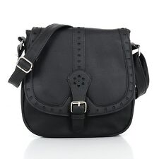 New Ladies Womens Black Crossbody Satchel Bag Buckle Heart Faux Leather