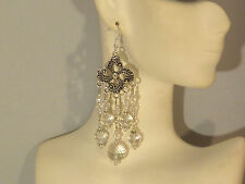 Gemstone Earrings - Crystal Quartz & 925 Sterling Silver - long chandeliers