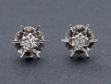 14k White Gold .30ct Round Diamond Flower Buttercup Stud Earrings H SI1