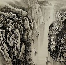 CHINESE WATER COLOR PAINTING -  LANDSCAPE PAINTING 三峽風光