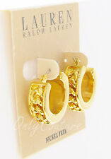 LAUREN Ralph Lauren Frozen Chain Inset 14k Gold-Plated Hoop Huggie Earrings