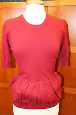 NEW Burberry London Hawthorne Red Short Sleeve Sweater Knit Top Peplum M S $495
