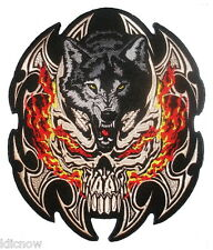 "FLAMED SKULL WOLF BACK PATCH 29.5cm x 24cm (11 1/2"" x 9 1/2"") Sew on"