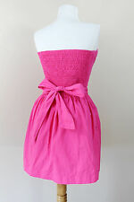 NEW Abercrombie & Fitch Pink Cotton Strapless Sun Dress Baby Doll Belt Large L