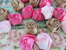 30 Pre-made Satin Ribbon Flower Rosebud Design/Craft/Bow/pink/brown/beige F62