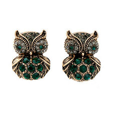Green Crystal Emerald Owl Smart Stud Earring Antique Gold Plated Vintage Jewelry