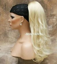 Light Blonde Ponytail clip on in Hair Piece Long Extension straight w/ wavy ends