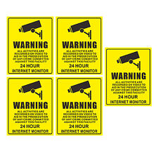 5 Warning CCTV Camera Window Stickers Signs Decals 200x250mm