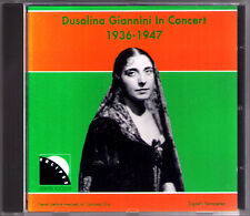 Dusolina GIANNINI: IN CONCERT 1936-1947 Aida La Forza del Destino Bloch Psalm CD