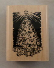 Inkadinkado Christmas Tree With Toys & Star Topper Wooden Rubber Stamp