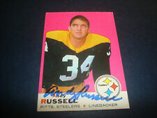 1969 TOPPS #17 ANDY RUSSELL STEELERS Missouri SIGNED AUTOGRAPH FOOTBALL CARD -BC