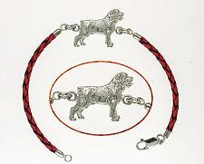 Bracelet Chien ROTTWEILER en Argent & Cuir - Bracelet ROTTWEILER DOG