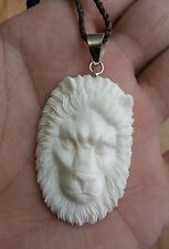 Lion Head In Buffalo Bone Hand Carving Pendant w/ Sterling Silver Bale Necklace