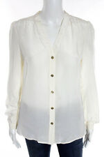 Tory Burch Ivory Silk Stitch Trim Button Front Top Size 4 $259 NEW JG05