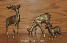 "(3-pc) VINTAGE BRASS 6.25""h BUCK, GRAZING DOE, FAWN DEER FAMILY FIGURINES"