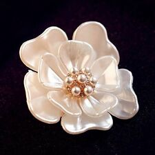 Elegant Gold Flower Pearl Rhinestone Crystal Wedding Bridal Bouquet Brooch Pin