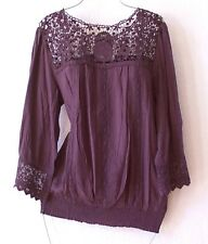 NEW~SOLITAIRE~Raisin Brown & Crochet Lace Peasant Blouse Boho Shirt Top~16/14/XL