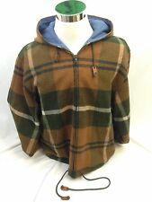 Giorgio Armani Jeans Plaid Wool Blend Hooded  Blanket Jacket Size Large Coat