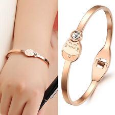 IP Rose Gold Crystal Open Bangle Stainless Steel Lucky Cat Bracelet for Girls