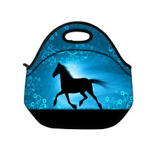 Horse Blue Insulated Tote Lunch Bag Cool Bag Lunch Box Handbag Neoprene