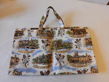 Lovely Vintage Cotton Coated PVC Shopping/Tote Bag Excellent Condition