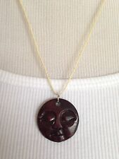 BRAND NEW Hand carved bone full moon face necklace!! Deep Brown