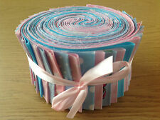 JELLY ROLL STRIPS 100% COTTON PATCHWORK FABRIC PINK / BLUE 40 PIECES
