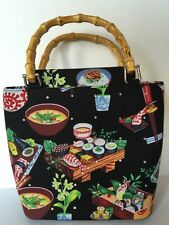 Japan Sushi Food Black Rhinestones Bamboo Purse Bag Handbag