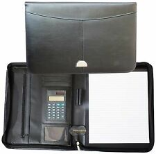 Genuine Black Leather Cathedral A4 Conference folder with zip pad and calculator