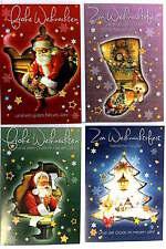 4er Set Weihnachtskarten für Weihnachten Grußkarten Weihnachtsmann Karten Frohe