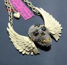 Cute NWT Betsey Johnson Necklace Gold And Black Skull With Wings Goth Biker