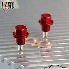 2PCS M12x1.5 Magnetic Engine Oil Pan Drain Filter Adsorb Plug Bolt + Washer RED