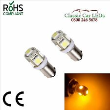 2X 6V AMBER BA9S CLASSIC CAR MOTORCYCLE SCOOTER LED BULB GLB951 641 NO POLARITY