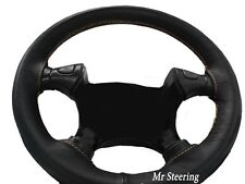 FOR JEEP LIBERTY KJ (01-07) REAL BLACK LEATHER STEERING WHEEL COVER CREAM STITCH